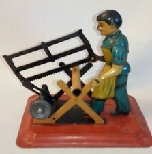 Vintage German Tin Lithograph Steam Engine Accessory Toy ~ Man with Bow Saw
