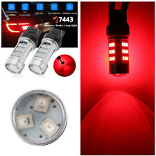 T20 7443 W21/5W Super Bright Strobe Blinking Red LED Reverse Brake Light Bulbs