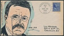 "#830 ""THEODORE ROOSEVELT"" ON MAE WEIGAND FDC CACHET HANDPAINTED BS2077"