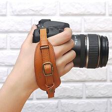 CIESTA DSLR SLR Camera Leather Hand Grip Strap (Brown) w/ Dovetail Plate