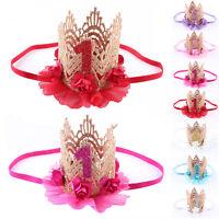 New Baby Girl Crown Headband Princess Crown Hair band Flower Tiara Lace Headwear