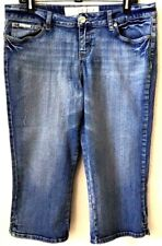 """Women's Med Blue Jean Capris Sz 15 by ENYCE 21"""" Ins Embroidered Pocket Pre-Owned"""