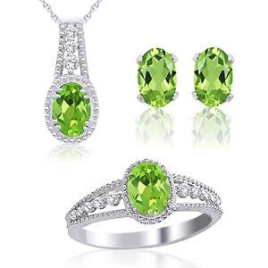 3.00 Ct Green Peridot & White Topaz Sterling Silver Ring Pendant & Earrings Set