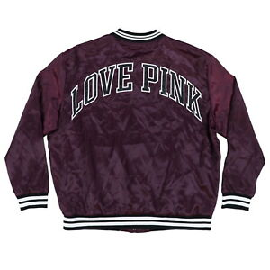Victoria's Secret Pink Jacket Casual Bomber Coat Outerwear Graphic Logo New Nwt
