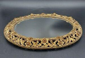 Vintage Oval Victorian Ornate Gold Tone Mirror Vanity Tray Display Metal Floral