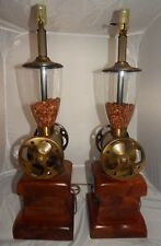 "Vintage Pair Coffee Grinder Brass & Wood 28"" Inch Working Table Lamps"