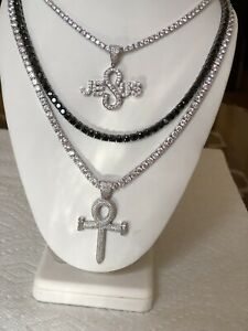 Set of 3 4mm Tennis necklace Silver and Black with ankh cross and Jesus pendant