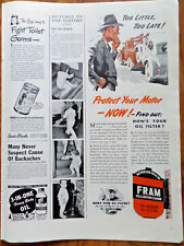 1943 Fram Oil Filter Ad  Towing Automobile  Too Little Too Late