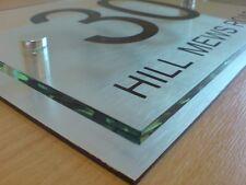 House Sign Modern Door Number Plaque Glass Effect Acrylic Premium Metal Spacers