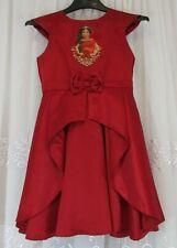 Disney Princess Jasmine Girls 9 10 Red Dress Costume Gown Rhinestones Bow Flare