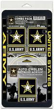 US Army Auto Combo - License Frame, Auto Emblem, 3 Cling Decals - (USA Sticker)