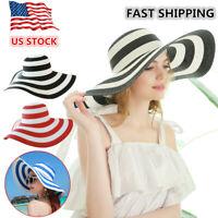 Straw Hat Wide Large Brim Women UV Protection Summer Beach Sun Hat Cap Striped