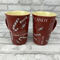 Mulberry Home Collection Candy Cane Lane Coffee Mug Christmas Holiday Lot of 2