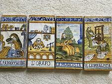 Italian Tiles Set of 4 Found by French Mediterranean