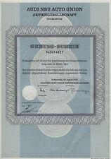 Audi NSU Auto Union Aktiengesellschaft Genuss-schein 1969