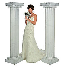 6 Feet Marble Look Fluted 2 Set Columns Wedding Party Decoration Celebration New