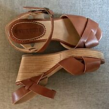 White Stuff Tan Leather Wedges - Size 4 - Brand New
