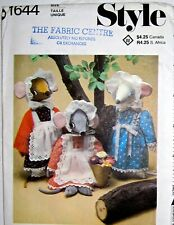 """New listing Uncut Vintage 19""""Mouse &Clothes Wardrobe Doll Toy Decor Sewing Pattern Style1644"""