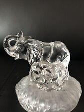 Italian Royal Crystal Rock glass Elephant and calf ornament. 12cm tall.