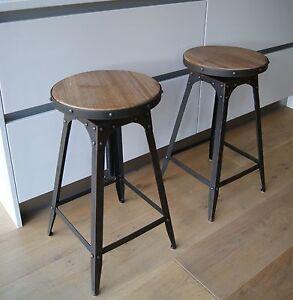Café-style breakfast bar stool, Aged Rust colour, adjustable height