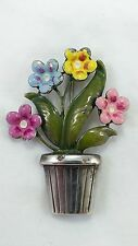 Darling .925 Sterling Flower/Pot Brooch/Pin Pinks Yellow Blue Enamel Flowers