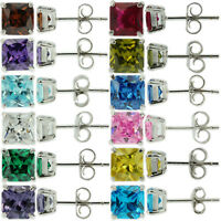 Sterling Silver 925 Birthstone Stud Earrings Princess Cut CZ Womens Babys Girls