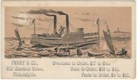 19th Century Steamboat Philadelphia Overcoat Tailor Trade Card