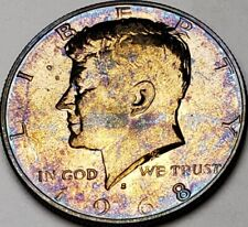 1968-S KENNEDY SILVER HALF DOLLAR BU UNC PROOF MULTI-COLOR TONED GEM!  #41
