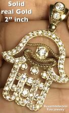 GOLD khamse hamsa khamsa pendant 10k Luck Hand Eye kaballah manmad diamond Charm