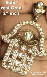 "GOLD hamsa pendant 10k Luck Fatima Hand Bad Eye kaballah simulated diamond 2"""