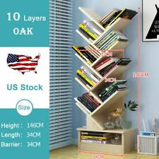 Wooden Bookshelf Rack Free-Standing 10Tier Tree Bookcase Shelf Storage Organizer