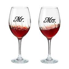 2 Sets of Mr & Mrs Wine glass jar wedding Decal Stickers