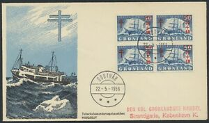 GREENLAND. FDC 1958 May 22. 30+10 Øre blue Tuberculosis, block of 4 (PK1285)