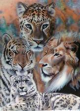 "3D LENTICULAR ART POSTER 'BIG CATS 16"" X 12"" AMAZING DETAIL"