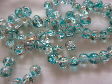 30 Clear/Blue/Orange 10mm Crackle Beads #cr3103 (Combine Post Before Paying)