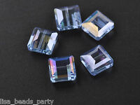 10pcs13mm Cute Square Faceted Glass Crystal Charms Loose Spacer Beads Lt Blue AB