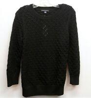 BANANA REPUBLIC Size S Black Loose Knit Crewneck Pullover Sweater Top