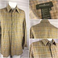 Zegna Long Sleeve Shirt M Brown Cotton Wool Nylon Plaid Italy Worn Once YGI 10M