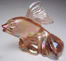 Fenton Asian Goldfish Koi #5276SX Sunset Pink Carnival Glass Messenger Exclusive