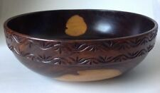 Vintage Turned Wooden Bowl w Carved Band Bi Color Wood Possibly Walnut 11.25""