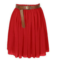 Red Chiffon Women Girl Short Mini Dress Skirt Pleated Retro Elastic Waist Sexy