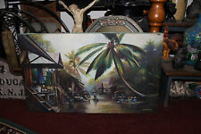 Stunning Asian Chinese Oil Painting-Signed V.N. Montry?-Water Village Boats Huts