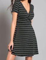 Bravissimo 8-18 CRC RSC Lottie Rib Wrap Dress Striped Smart Office Casual Flippy