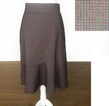 NEXT Skirt 14 Flippy High Waist Check Brown Elastic Waist Work Office Casual