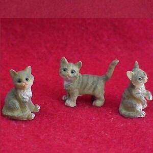 Pet Kittens Grey Heidi Ott 3 poses HOXZ566 Dollhouse Miniature