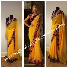 INDIAN Bollywood Designer GIALLO GEORGETTE & Floreale Saree