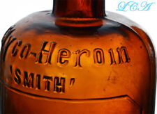 Antique HEROIN embossed QUACK MEDICINE bottle.  Large, early hand blown, RARE