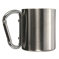 Stainless Steel Cup Coffee Cup Camping Outdoor Picnic Carabiner 220ML A7N7 B4X2