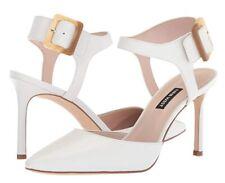8cfdc6e36 A5411 Women's Nine West Elisabeti White Leather Heeled Sandal ...