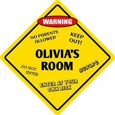 """*Aluminum* Olivia's Room 00004000  Kids Room Door 12""""x12"""" Metal Novelty Sign"""